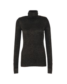 Holland Cooper Womens Black Button Metallic Roll Neck Knit