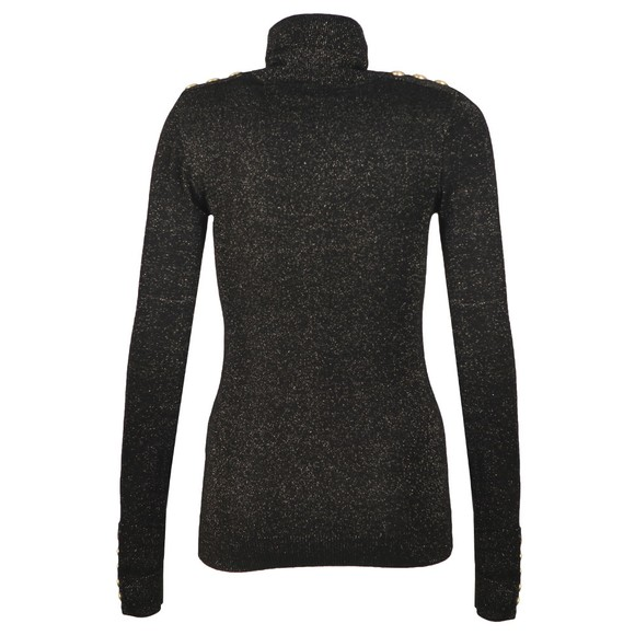 Holland Cooper Womens Black Button Metallic Roll Neck Knit main image