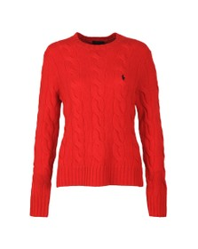 Polo Ralph Lauren Womens Red Classic Cable Knitted Jumper