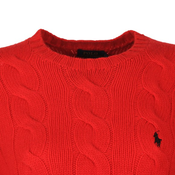 Polo Ralph Lauren Womens Red Classic Cable Knitted Jumper main image