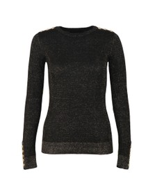 Holland Cooper Womens Black Button Metallic Crew Neck Knit