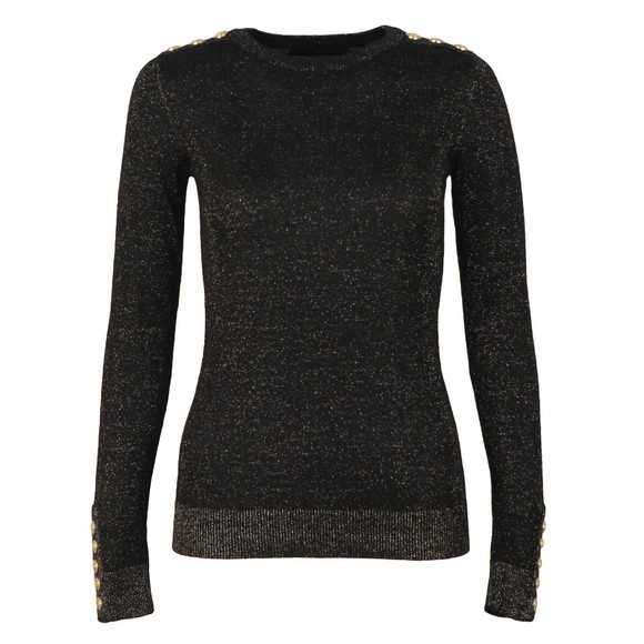 Holland Cooper Womens Black Button Metallic Crew Neck Knit main image