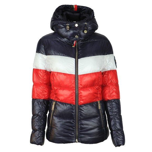 Holland Cooper Womens Multicoloured Tri Colour Puffer Jacket