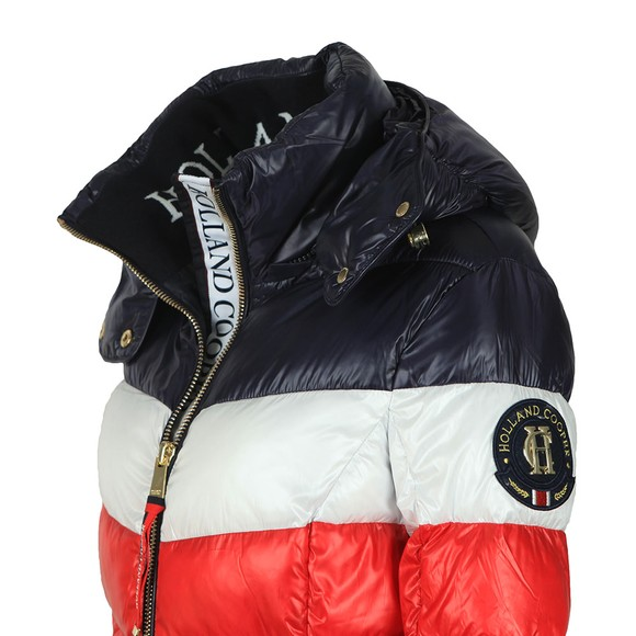 Holland Cooper Womens Multicoloured Tri Colour Puffer Jacket main image