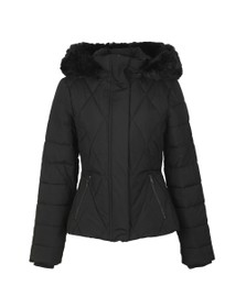 Ted Baker Womens Black Erikaa Short Faux Fur Hooded  Down Jacket