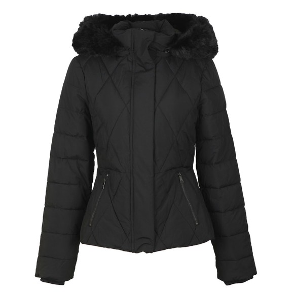 Ted Baker Womens Black Erikaa Short Faux Fur Hooded  Down Jacket main image