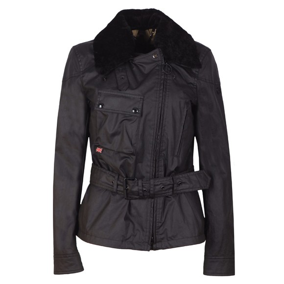 Belstaff Womens Black Sammy Miller Jacket With Shearling Collar