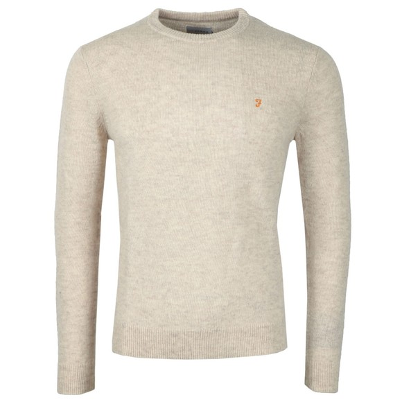 Farah Mens Beige Rosecroft Knitted Crew Jumper
