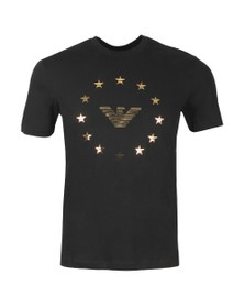 Emporio Armani Mens Black Eagle Circle Logo T Shirt