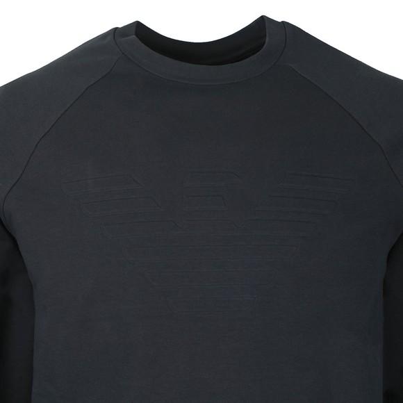 Emporio Armani Mens Blue Embossed Logo Sweatshirt