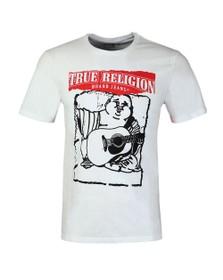 True Religion Mens White Painted Buddha Crew Neck T-Shirt