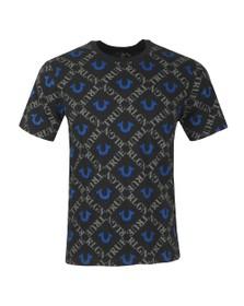 True Religion Mens Black Monogram All Over T-Shirt