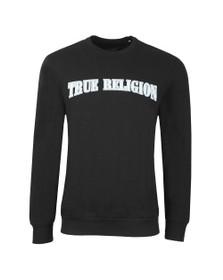 True Religion Mens Black Felt Logo Thread Crewneck Sweatshirt