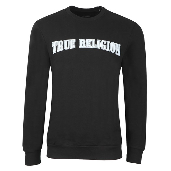 True Religion Mens Black Felt Logo Thread Crewneck Sweatshirt