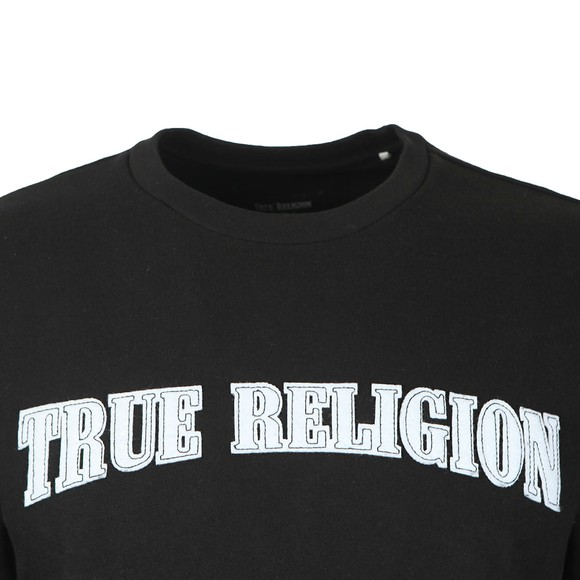 True Religion Mens Black Felt Logo Thread Crewneck Sweatshirt main image