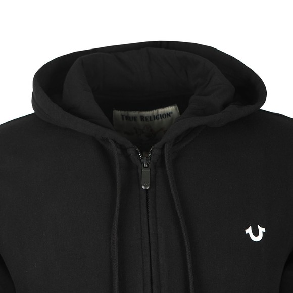 True Religion Mens Black Buddha Fashion Zip Hoodie