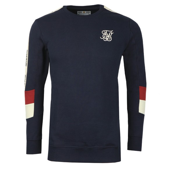 Sik Silk Mens Blue Retro Panel Tape Sweat main image