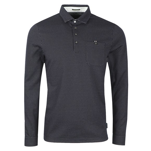Ted Baker Mens Blue Outof LS Jacquard Polo main image