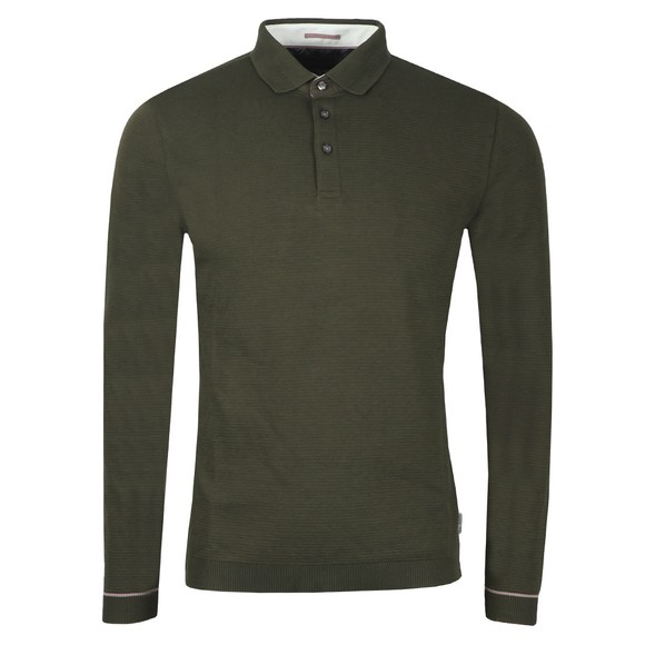 Ted Baker Mens Green Terned LS Polo Shirt