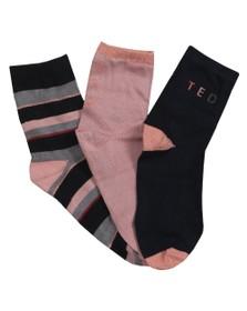 Ted Baker Womens Blue Logsi Stripe & Branded Sock Triple Pack