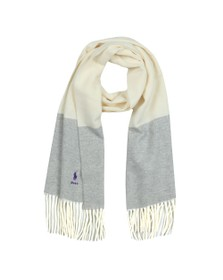 Polo Ralph Lauren Womens Off-White Solid Fringe Scarf