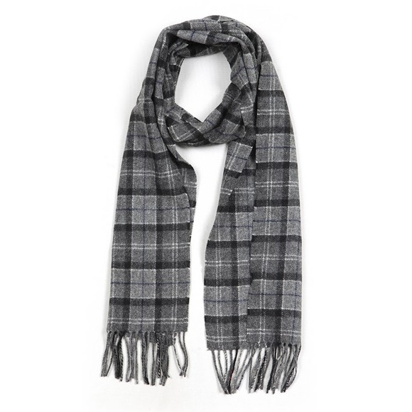 Barbour Lifestyle Mens Black Tartan Lambswool Scarf