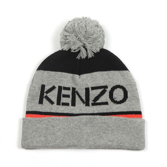 Kenzo Kids Boys Grey Logo Bobble Hat main image