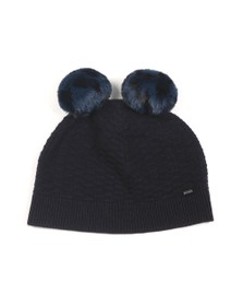 Ted Baker Womens Blue Leysaai Double Faux Fur Pom Stitch Hat