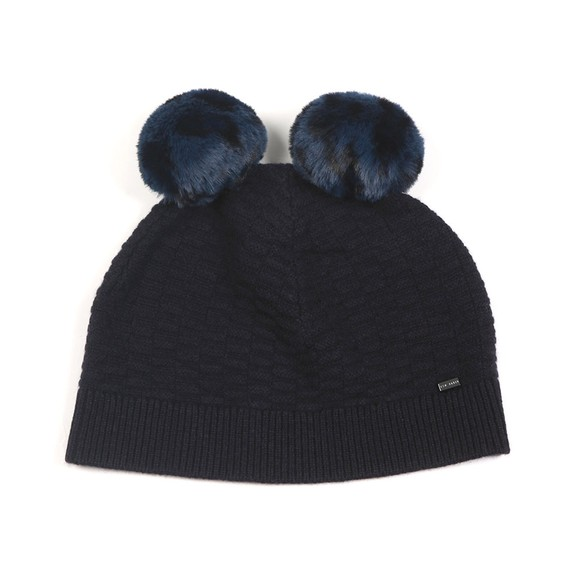 Ted Baker Womens Blue Leysaai Double Faux Fur Pom Stitch Hat main image