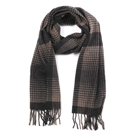 Eton Mens Brown Grid Check Scarf