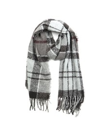 Barbour Lifestyle Womens Grey Tartan Boucle Scarf