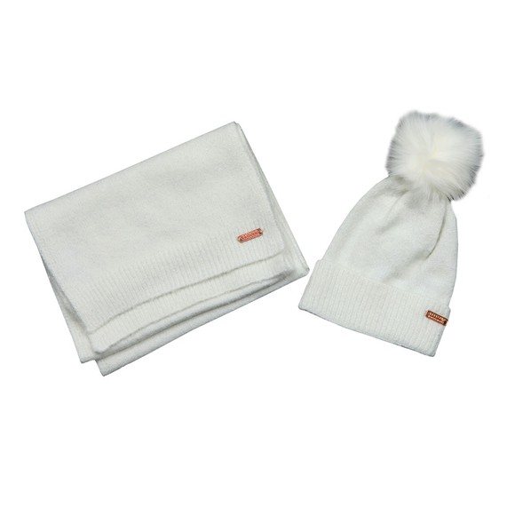 Barbour International Womens Blue Knitted Hat & Scarf Gift Set main image