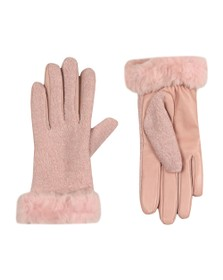 Ugg Womens Pink Fabric Leather Shorty Glove