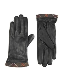 Barbour Lifestyle Womens Black Tartan Trimmed Leather Glove