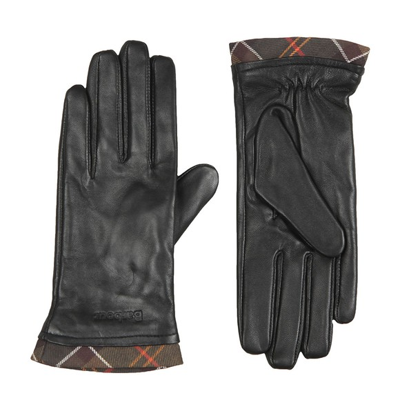 Barbour Lifestyle Womens Black Tartan Trimmed Leather Glove main image