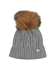 Holland Cooper Womens Grey Cashmere Cable Knit Bobble Hat
