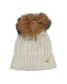 Holland Cooper Womens White Cashmere Cable Knit Bobble Hat