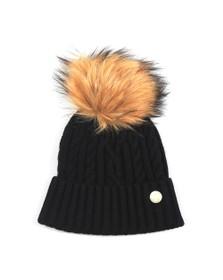 Holland Cooper Womens Black Cashmere Cable Knit Bobble Hat
