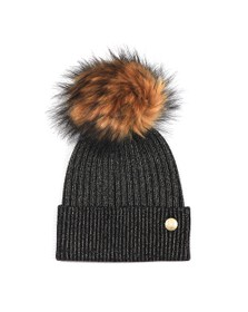 Holland Cooper Womens Black Metallic Bobble Hat