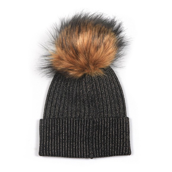 Holland Cooper Womens Black Metallic Bobble Hat main image