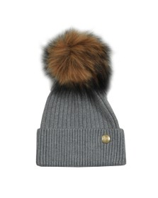 Holland Cooper Womens Grey Metallic Bobble Hat