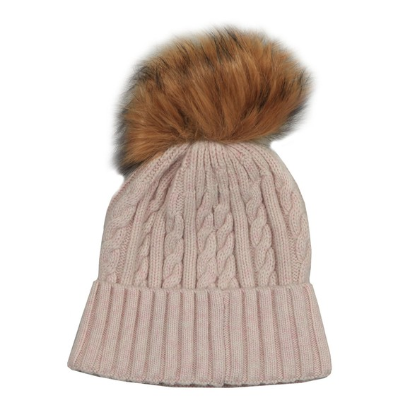 Holland Cooper Womens Pink Cashmere Cable Knit Bobble Hat