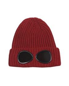 C.P. Company Boys Red Merino Knit Wool Goggle Hat