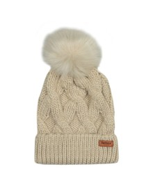 Barbour International Womens Beige Bridport Pom Hat