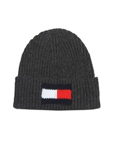 Tommy Hilfiger Mens Grey Flag Beanie