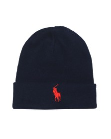 Polo Ralph Lauren Mens Blue Large Badge Wooly Hat