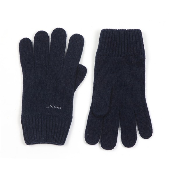 Gant Mens Blue Knitted Wool Gloves main image