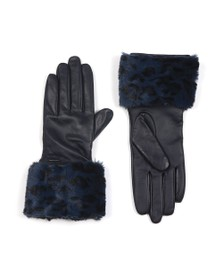Ted Baker Womens Blue Fleuri Faux Fur Cuff Gloves