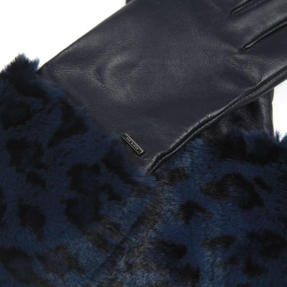 Ted Baker Womens Blue Fleuri Faux Fur Cuff Gloves main image
