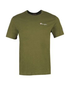 Champion Reverse Weave Mens Green Small Script Logo T-Shirt